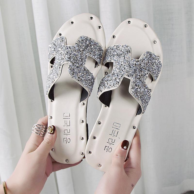 2019 musim panas model baru Gaya Korea sol datar berbentuk garis lurus sandal wanita modis Kulit