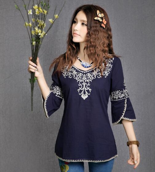 Detail Gambar Gaya Tiongkok Model Musim Panas baju wanita modis fitur Bunga bordir MIMZF kemeja wanita Retro Lengan Terompet Sepertujuh Terbaru
