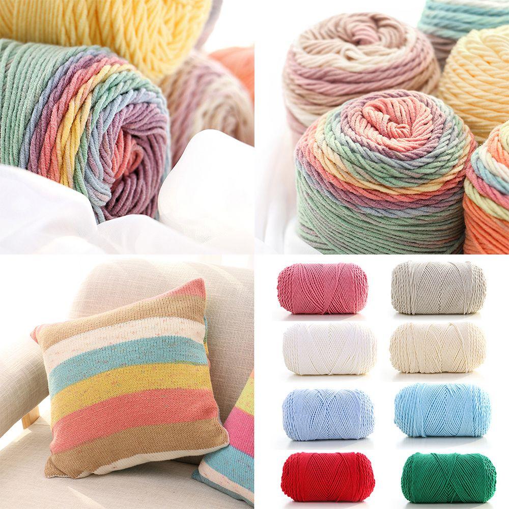 Hình ảnh pan 100 gram Màu cầu vồng Sợi dệt bằng tay Sợi len mềm Sợi dày cho tay đan Ấm áo len Sofa Đệm Khăn thủ công DIY