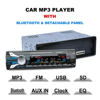 1 Din Bluetooth Car Radio Audio Stereo MP3 Player Front DetachablePanel Support SD / FM / AUX / USB - intl