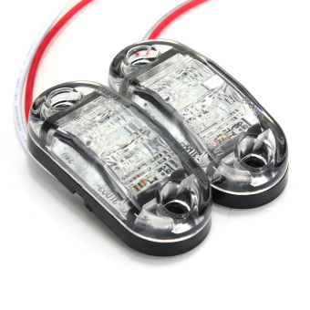 1 PAIR LED Side Marker Light for Cars Trucks Trailers Clearance Lamp 12v/24v (White) - 4