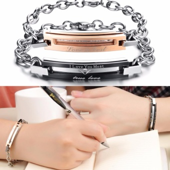 1 Pair Letter Carving Titanium Steel Chain Bracelet for Lovers Couple's Gift - intl