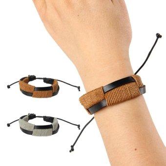 1 Pair Lovers Leather Bracelets for Couple Gift - intl