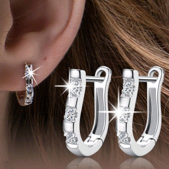1 Pair New Hot 925 Sterling Silver Women White Gemstones Women Hoop Earrings