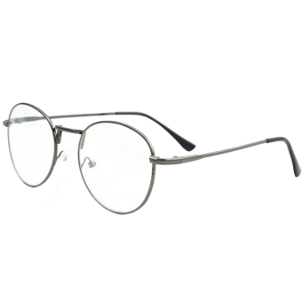 1 Pair of Unisex Eye Round Circle Thin Metal Frame Clear Lens Plain Decorative Glasses Frame Eyeglasses Gun-grey - Intl