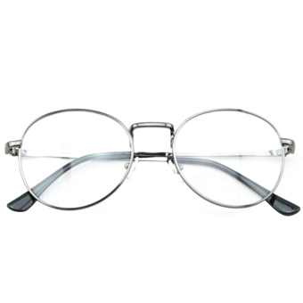 1 Pair of Unisex Eye Round Circle Thin Metal Frame Clear Lens Plain Decorative Glasses Frame Eyeglasses Gun-grey - Intl - 2