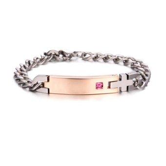 1 Pair Titanium Steel Lovers Bracelet Couples Bracelet for Valentines Gift - intl - 3