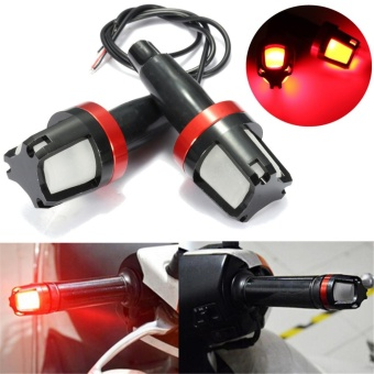 1 Pair Universal Motorcycle LED Handle Grip Bar End Plug Turn Signal Indicator Light (Red) - intl