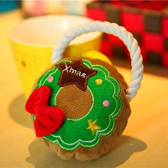 1 PC Pet Dog Toy Dog Toy Style Rope Christmas Wreath toys Soft Dog Hug Toy With Rope Legs WA370 P10 - intl - picture 2