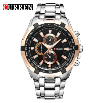 [100% Genuine]CURREN 8023 Mens Watches Top Brand Luxury Men Military Wrist Watches Full Steel Men Sports Watch Waterproof - 2