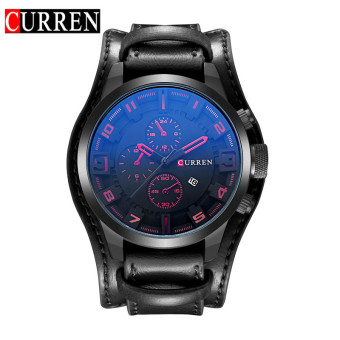 [100% Genuine]CURREN 8225 Men's Round Analog Wrist Watch with ThreeDecorated Sub-Dial, Alloy Case & Faux Leather Band For Men