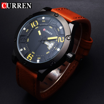 [100% Genuine]CURREN 8251 Men's Round Analog Wrist Watch with Three Decorated Sub-Dial, Alloy Case & Faux Leather Band For Men - 5