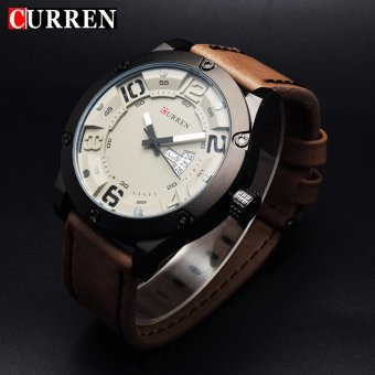 [100% Genuine]CURREN 8251 Men's Round Analog Wrist Watch with Three Decorated Sub-Dial, Alloy Case & Faux Leather Band For Men - 4