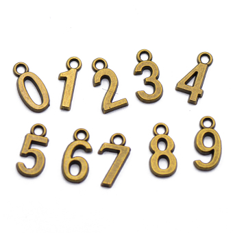 100 Pcs Mixed Number Charms Pendant Jewellery Age Birthday Craft Steampunk