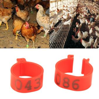 100PCS 16MM Plastic 001-100 Numbered Poultry Leg Bands Rings(Red)