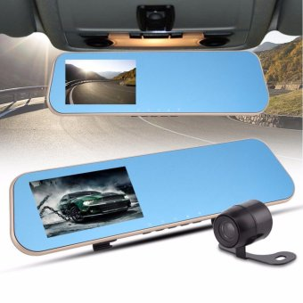 1080P HD Rear View Mirror Monitor Camera Dual Lens Car DVR Dash CamRecorder - intl