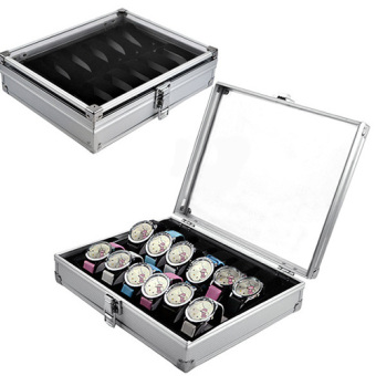 12 Slots Aluminium & Plastic Watch Display Box Storage Holder Organizer - intl
