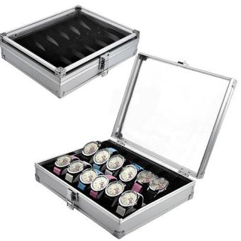 12 Slots Watch Jewelry Display Case Organizer Gift Box Storage Aluminium Plastic
