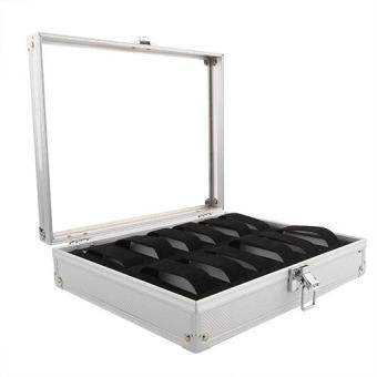 12 Slots Watch Jewelry Display Case Organizer Gift Box Storage Aluminium Plastic - 2