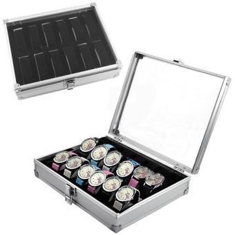 12 Slots Watch Jewelry Display Case Organizer Gift Box Storage Aluminium Plastic - 4