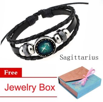 12 Zodiac Signs Sagittarius Charm Bracelet Beaded Bracelet Multi-Layers Leather Friendship Couple Bangle Constellation Bracelet - intl