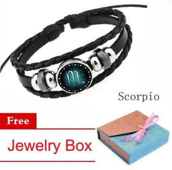 12 Zodiac Signs Scorpio Charm Bracelet Beaded Bracelet Multi-Layers Leather Friendship Couple Bangle Constellation Bracelet - intl