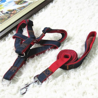 120 * 1cm Denim Dog Chain Dog Rope Dog Collar Traction Rope Chest Strap Pet Leashes Supplies - intl