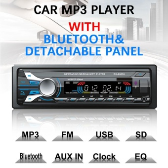 12V 1 Din Bluetooth Car Radio Audio Stereo MP3 Player FrontDetachable Panel Support SD / FM / AUX / USB - intl