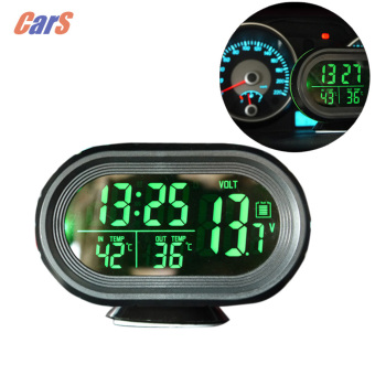 12V / 24V Digital Auto Car Thermometer Car Battery VoltmeterVoltage Meter Tester Monitor Noctilucous Clock Freeze Alert - intl