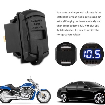 12V Dual Port USB Charger Socket Voltage Tester Voltmeter With Wires For Car Motorcycle Boat - intl