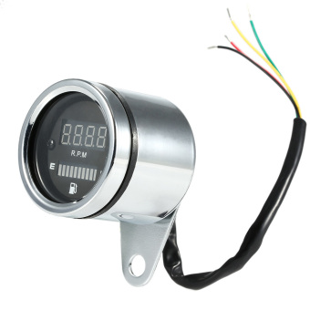 12V Motorcycle 2 in 1 Tachometer RPM Shift Meter Fuel Gauge Meter with Digital LED Indicator.
