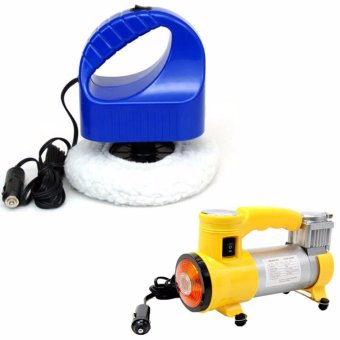 12v Portable Car Polisher Electric Waxing Machine (Blue) WITH 12V150PSI Portable electric air compressor car inflator pump (Yellow)
