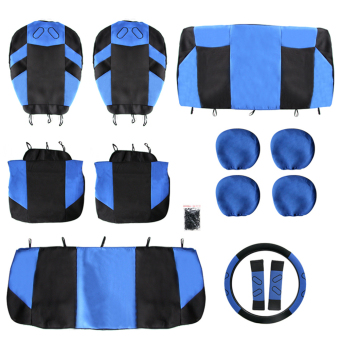 13Pcs Universal Styling Car Seat Steering Wheel Covers ProtectorBlue