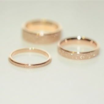 14 K/j056 titanium steel plated rose gold matte couple ring - intl