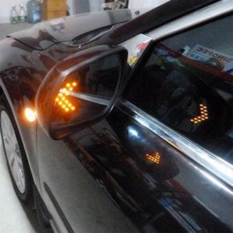14 SMD LED Arrow Panel Car Side Mirror Turn Signal Indicator LightsBulbs Amber yellow For HONDA INFINITI KIA HYNDAI DACIADAEWOO(yellow led 1pair) - 2