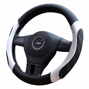 15 inch Leather Breathable Car Steering Soft Wheel Cover - Black White - intl