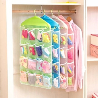 16 Grid Underwear Socks Ties Storage Organizer Box Hanging Bags(Green)