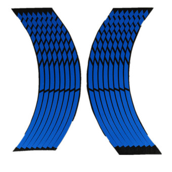 16 Strips Wheel Sticker Reflective Rim Stripe Tape Bike Motorcycle Car 16 17 18inch Blue