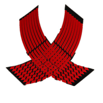 16 Strips Wheel Sticker Reflective Rim Stripe Tape Bike Motorcycle Car 16 17 18inch Red
