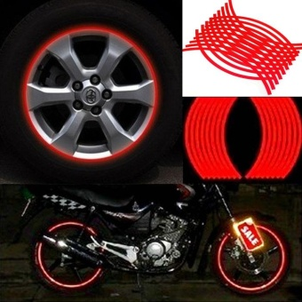 18 Strips Motorcycle Car Wheel Tire Stickers Reflective Rim TapeRed - intl