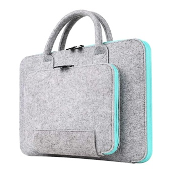 18.11 x 12.99inch Storage Bag Wool Felt Handbag Shock-absorptionCarrying Case for Macbook Air Pro and Retina Universal Laptop Sizewithin 17inch Light-gray and Sky-blue - intl