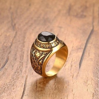 18K Gold Black Zircon Stone Stainless Steel USA Army Ring Mens Jewelry Size 8-12 - intl - 4