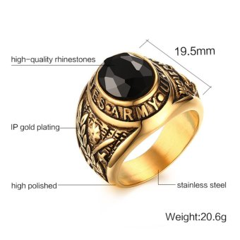 18K Gold Black Zircon Stone Stainless Steel USA Army Ring Mens Jewelry Size 8-12 - intl - 2