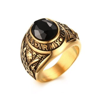 18K Gold Black Zircon Stone Stainless Steel USA Army Ring MensJewelry Size 8-12 - intl
