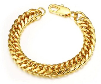 18k Gold Plated Curb Link Chain Bracelet for Men, Gold, 19cm, 8mm width - Intl