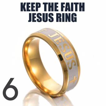18k Gold Plated Jesus Ring (Keep The Faith) SIZE 6