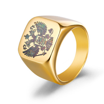 18K Gold Plated Polished Stainless Steel Eagle Ring Band Biker Coatof Arms of the Russian Signet Ring for men - intl