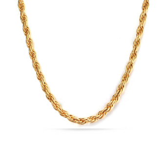 18K Gold Plated Stainless Steel Tri-Curb Chain Necklace For Men 5.0mm,24 Inches