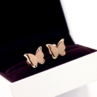 18k titanium steel plated rose gold earrings