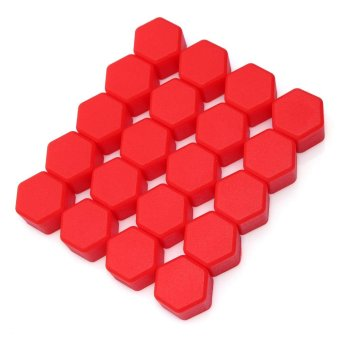 19mm Car Silicone Wheel Lug Nut Bolt Cover Cap Fuchsia 20 Pcs (Red)- intl - 4